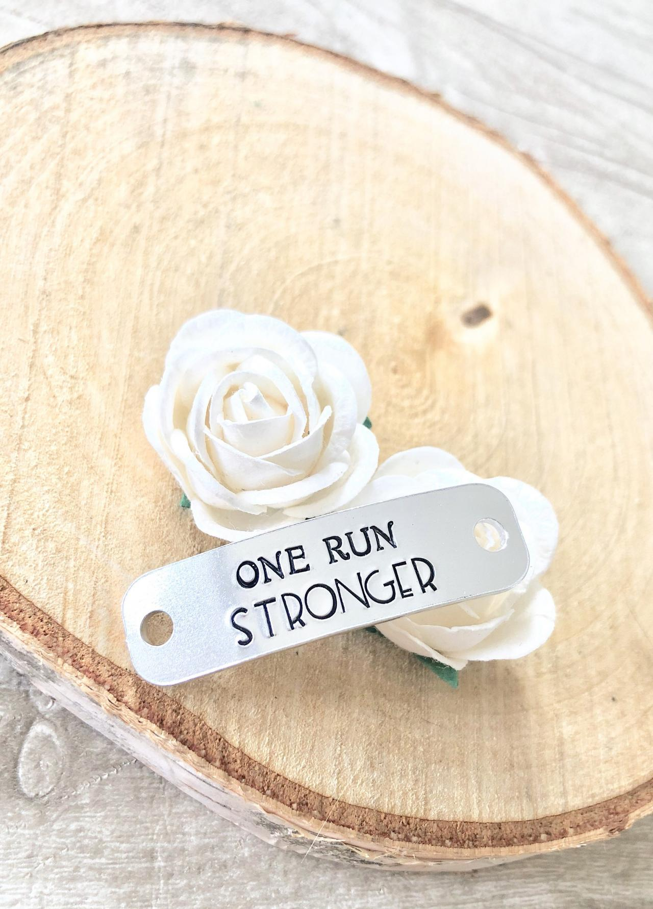 One Run Stronger, Trainer Tags, Running Gift, Runner Gift, Gym Accessory, Gym Lover, Shoe Tags, Shoe Laces, Motivational Gift,