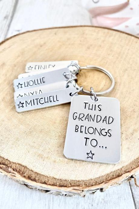 This Grandad Belongs To, Hand stamped, Personalised Keyring, Gift For Him, Gift For Grandad, Gift for Grampy, Fathers Day Gift, Grandpa