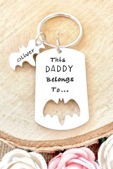 This Daddy Belongs to, Daddy Gift, Gift for Daddy, Keyring, Hand Stamped, Hero, Personalised, For Him, Daddy, New Dad, Fathers day,