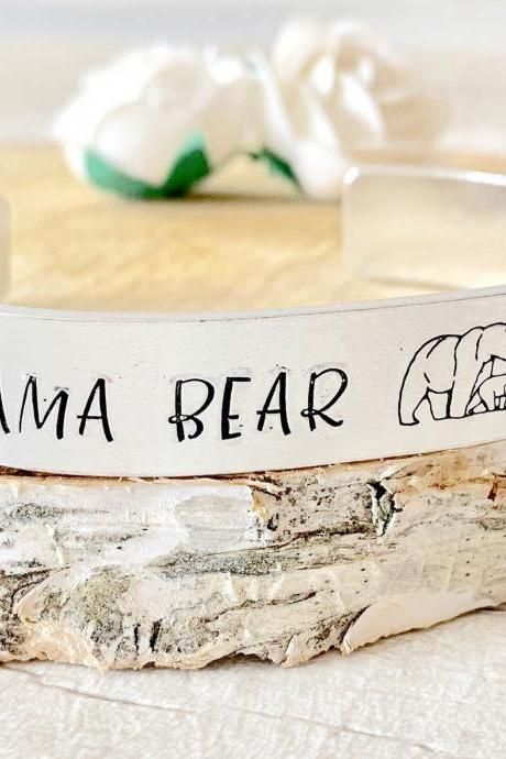 Mama Bear, Mummy Bear, Mama Bear Bracelet, Mama Bear Cuff, Hand Stamped, Mother's Day gift, for her, Bear, New Mum Gift, New Baby
