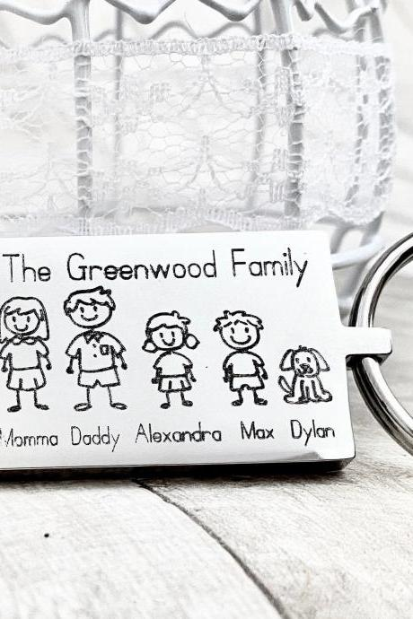 Family keyring, Personalised Gift for Mum Dad, Mother's Day, Father's Day, Engraved Gift, Stick Family, Unique Gift, For mummy Daddy