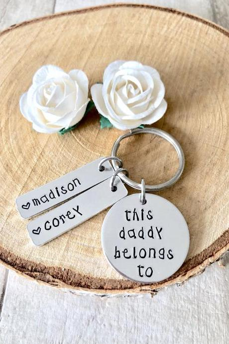 This Daddy Belongs To, Keyring, Hand Stamped, Personalised, For Him, Daddy, Father, New Dad, New Baby, Fathers day, Daddy Gift,