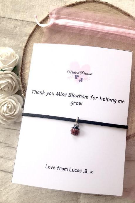 Thank you for helping me grow, teacher gifts, wish bracelet, childminder, personalized, nursery gift, teaching assistant gift, ladybird