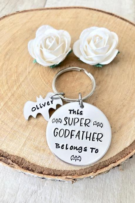 Godfather Gift, Gift for Godfather, Gift for Guardian, Keyring, Hand Stamped, Hero, Personalised, For Him, Godfather, Christening Gift,
