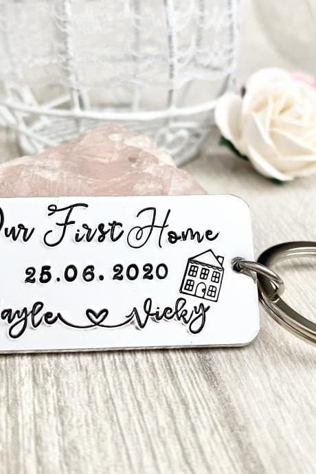 Our First Home, New Home, New Home Gift, New House, Personalised Keyring, Couples Gift, Moving in Gift, House Warming Gift