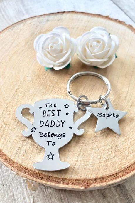 Best Daddy, Daddy Gift, Gift for Daddy, Keyring, Hand Stamped, Hero, Personalised, For Him, Daddy, New Dad, Fathers day,