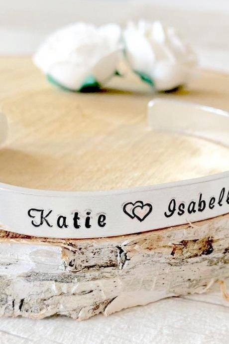 Handstamped Cuff Bracelet, Personalised Bracelet, Personalised Cuff, Bangle, Gift For Her, Gift for Mum, Unique Gift, Mothers Day, Stocking
