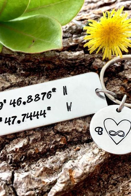 Wedding Coordinates, Wedding Gift, Couples Gift, Engagement Gift, Keepsake, Wedding Keepsake, Couples Keepsake, Infinity, Handstamped