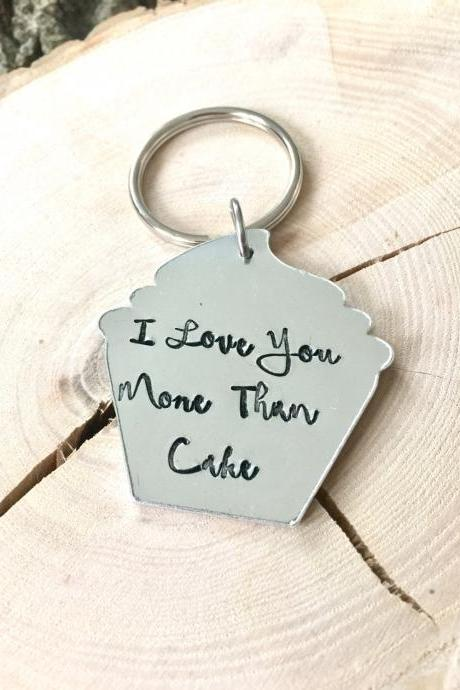 Valentines Gift, Valentine Present, Valentines Day, I love you more than cake, handstamped, Keyring, for Him, for her, gift, cake lover