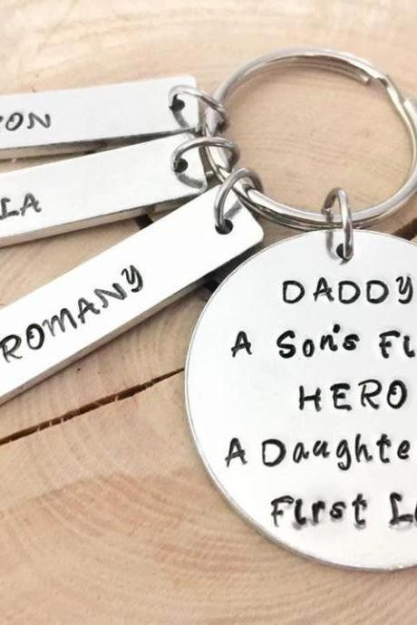 A son's first hero a daughters first love, Hand stamped, Father's Day gift, Gift for Daddy, Gift For Him, Daddy Gift, Dad, Daddy Our Hero,