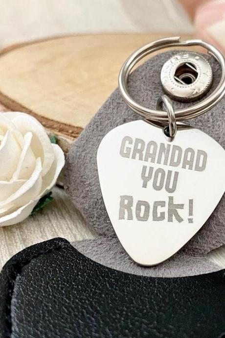 Guitar Pick - Grandad You Rock - Fathers Day Gift for Grampy - Engraved - From Grandchildren Grandkids Grandaughter Grandson, Grandparent