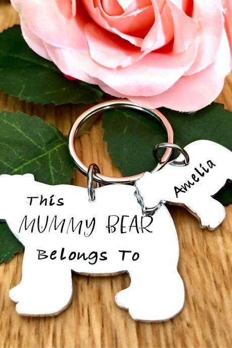 This Mummy Belongs To, Mama Bear, Mummy Bear, Keyring, Hand Stamped, Personalised Gift, Mum. Mummy, For Her, Mothers Day Gift, Mummy Gift,