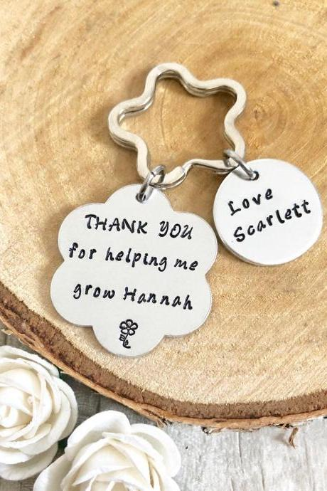 Teacher Gift, Childminder Gift, Nursery Gift, Thank you gift, For helping me grow, Leaving Gift, End of Term Gift, Personalised Keyring,