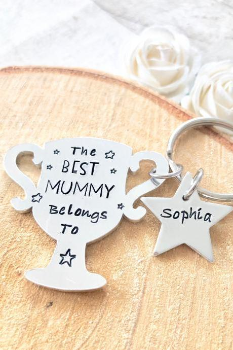 Best Mummy, Mummy Gift, Gift for Mommy, Keyring, Hand Stamped, Personalised, Mother, New Mum, Mothers day,