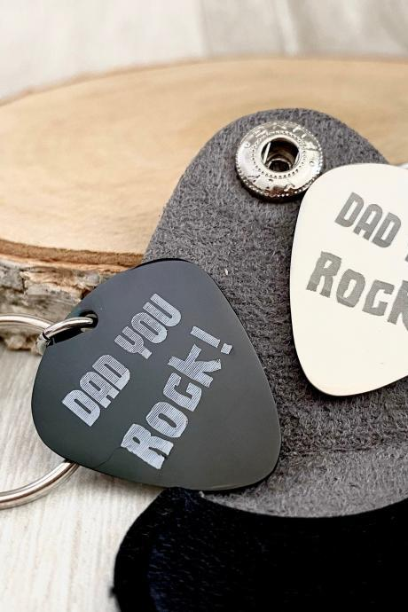 Guitar Pick, Dad You Rock, Fathers Day Gift for Dad, Engraved, Stainless Steel,