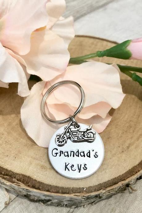 Dad Gift, Grandpa Gift, Dad Key Chain, Key ring, custom key chain, gifts for dad, dad bithday gift, fathers day gift, motorbike, grandad