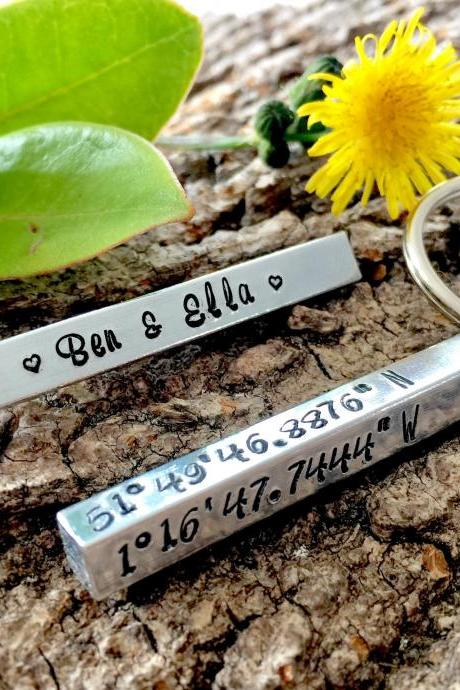 Wedding Coordinates, Wedding Gift, Couples Gift, Engagement Gift, Keepsake, Wedding Keepsake, Couples Keepsake, Handstamped, Groom Gift