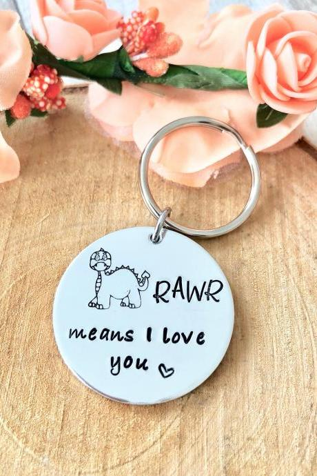 Rawr means I love you in dinosaur, Valentines Day, Valentine Gift, dinosaur gift, hand stamped keyring, boyfriend gift, husband gift, wife g
