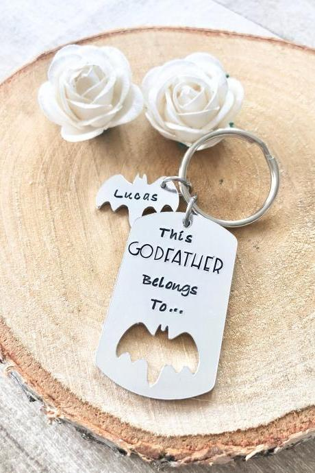 Godfather Gift, Gift for Godfather, Gift for Guardian Gift, Keyring, Hand Stamped, Personalised, For Him, Godfather, Christening Gift,