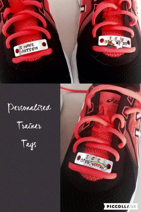 Trainer Tags, Personalised Trainer Tags, ICE, In Case of Emergency, Autism, Emergency Contact, Running, Safety, Shoe Tags, Safety Tags