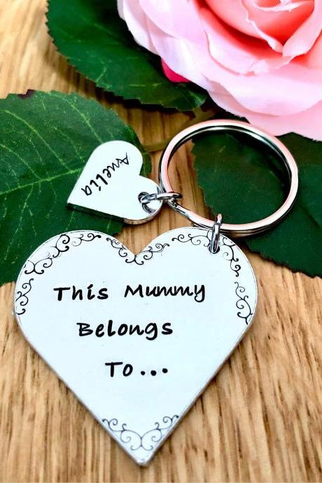 This Mummy Belongs To, Keyring, Hand Stamped, Personalised Gift, Personalised Keyring, Mum. Mummy, For Her, Mothers Day Gift, Mummy Gift,