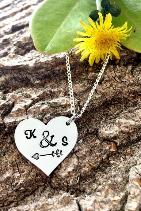 Anniversary Gift, Valentines Gift, Gift for Girlfriend, Gift for Her, Stocking Filler, Handstamped Necklace, Personalized Necklace, Bride