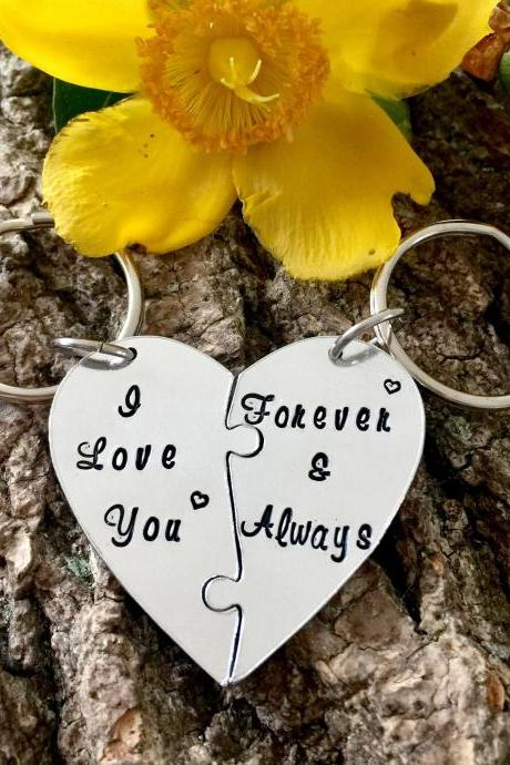 Couples Keyrings, Valentine's Day, Valentine Present, Valentine Gift, For Him, For Her, His and Hers, Handstamped, I love you, Puzzle Piece