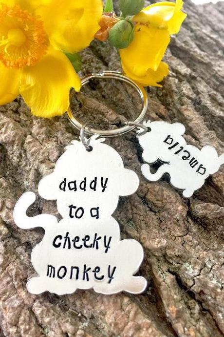 Daddy Gift, Daddy to a Cheeky Monkey, Cheeky Monkey, Keyring, Hand Stamped, Personalised, For Him, Daddy, Father, New Dad, Gift for Dad,