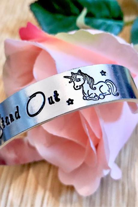 Why fit in when you can stand out, unicorn, hand stamped, hand stamped cuff, unique gift, unicorn gift, for her, unusual gift,