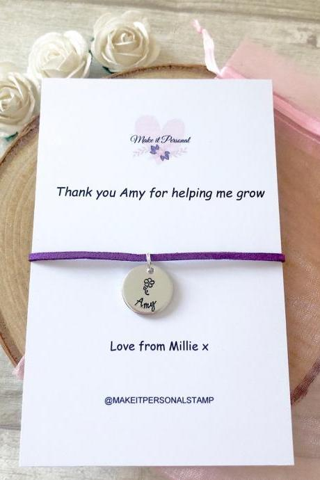 Thank you for helping me grow, teacher gift, wish bracelet, teacher appreciation, childminder gift, teaching assistant, cord bracelet,