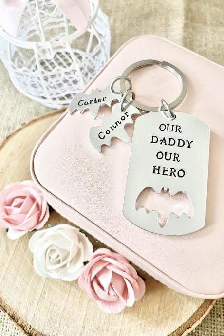 Daddy Gift, Gift for Daddy, Gift for Dad, Keyring, Hand Stamped, Hero, Personalised, For Him, Daddy, Father, New Dad, Fathers day, Our Hero,